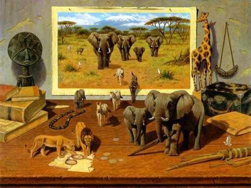 10002: African Animal Scene Canvas Surreal Ltd Edition
