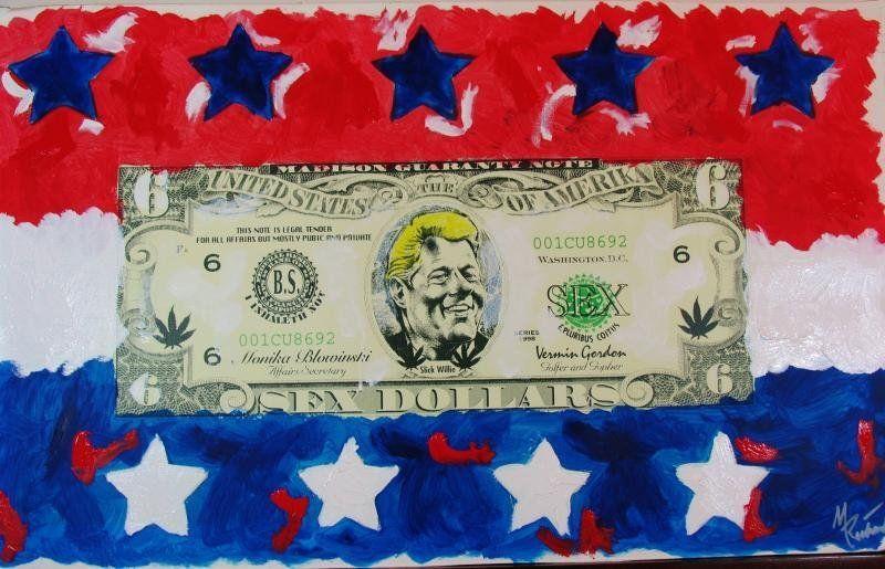 Stars & Stripes Bill Clinton Monica Hilarious Art