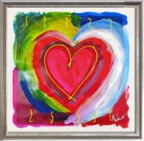 Pop Canvas Heart Series Signed Original Mixed Media