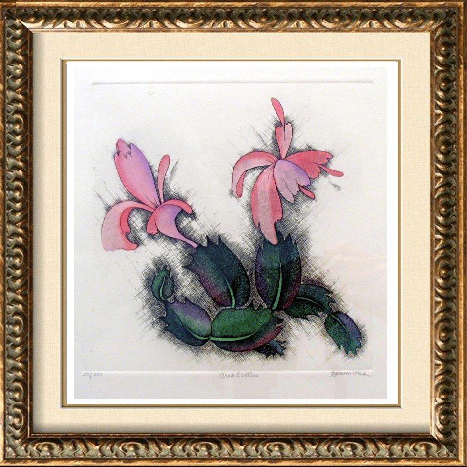 Floral Colored Etching Crab Cactus Signed Ltd Ed Rare