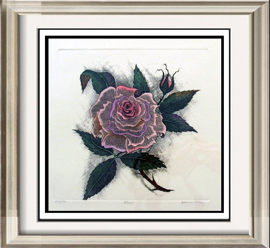 Rose Colored Etching Signed  Limited Edition Dealer