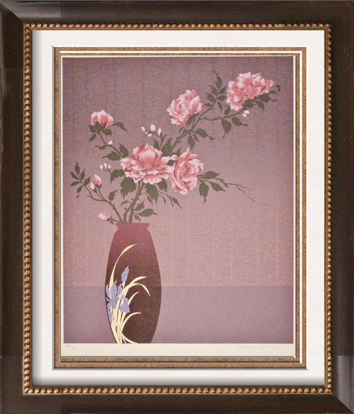 Floral in Vase Lithograph Signed Art Sale