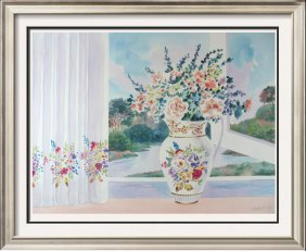 Original Watercolor Realism Traditional Vase In Window