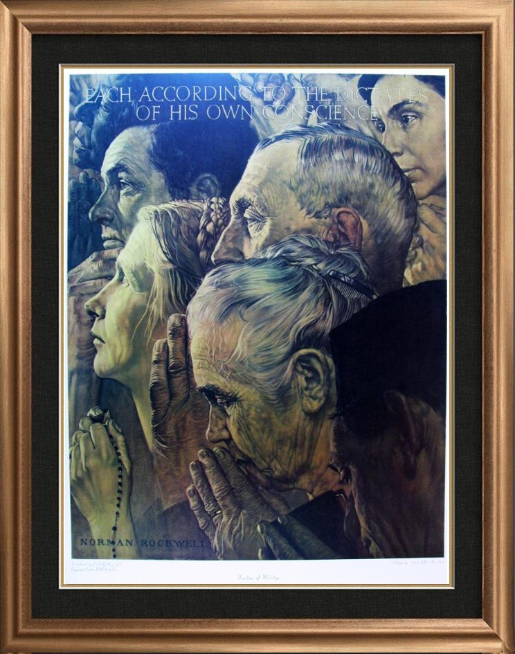 Freedom Of Worship Norman Rockwell Collotype Rare