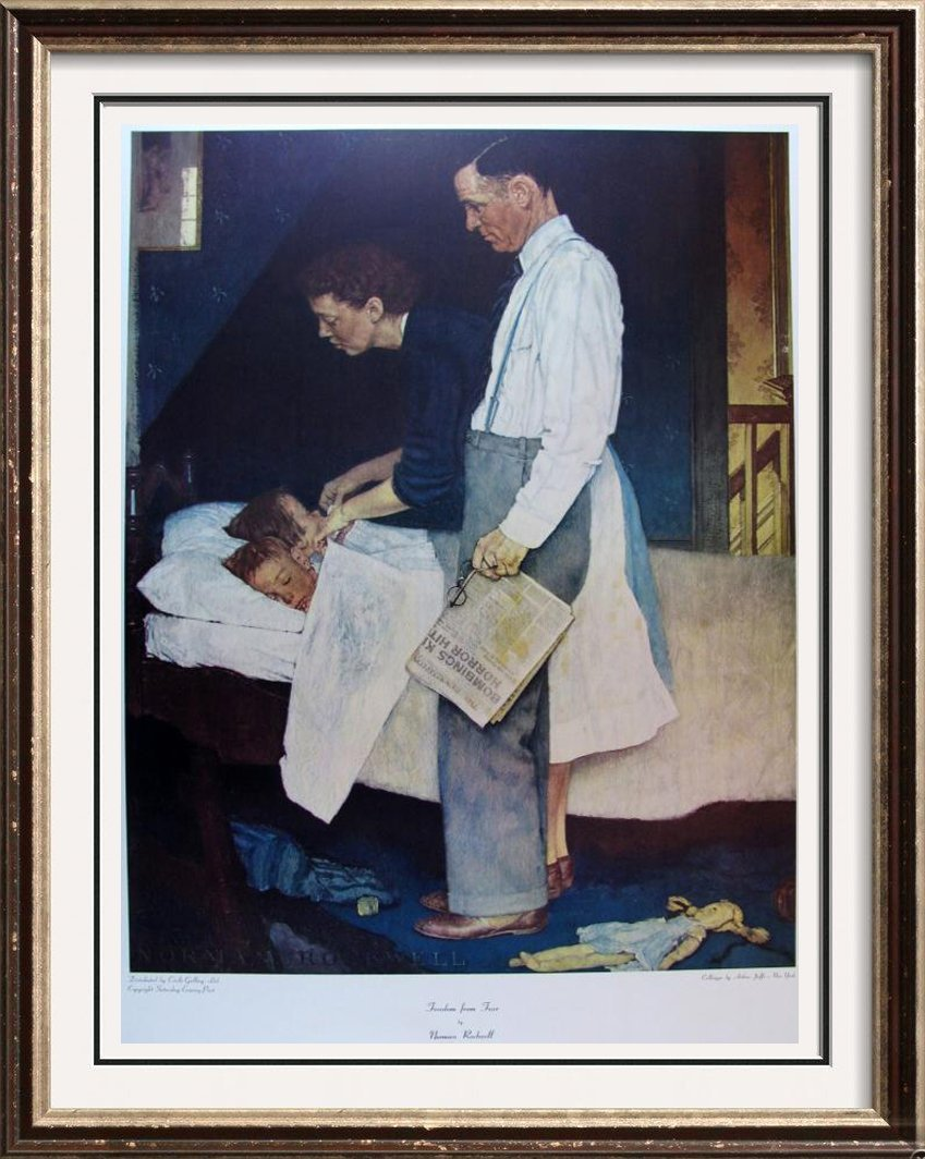 Freedom From Fear Norman Rockwell Collotype Rare