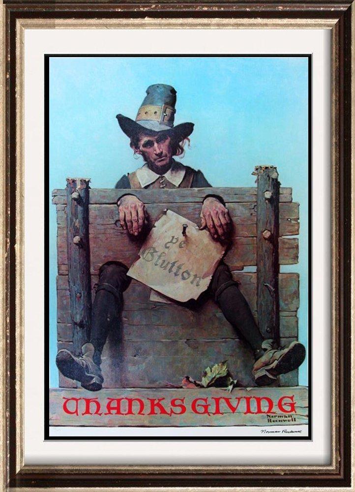 Norman Rockwell Thanksgiving Collograph Rare
