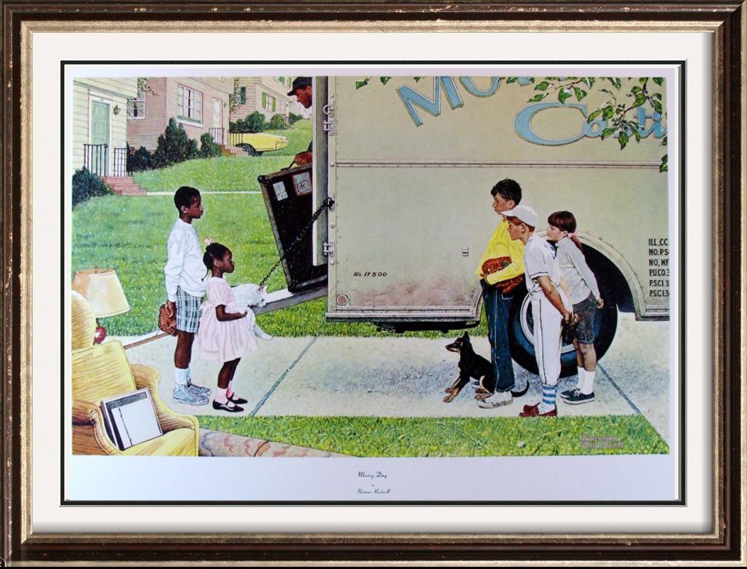 Norman Rockwell Moving Day Collograph Rare Collectible