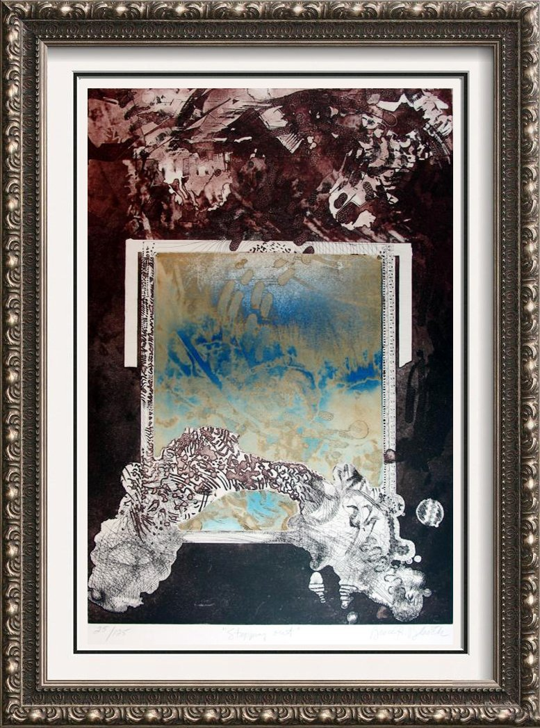 Fantastic Large Modern Etching Colored Abstract Dealer