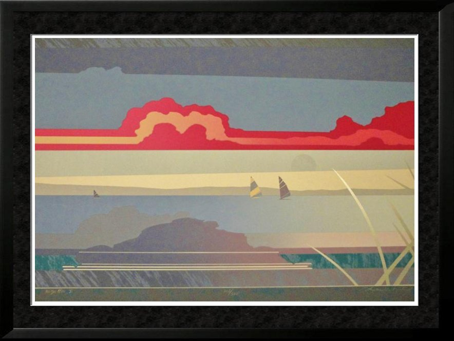 Abstract Sailboat Colorful Signed Limited Ed Huge Sale