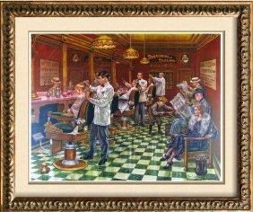 Parlor Old Time Barber Shop Nostalgia Signed Ltd Ed