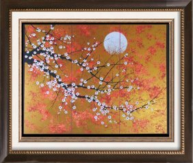 Asian Cherry Blossom Tree Gold Leaf Look Signed Limited