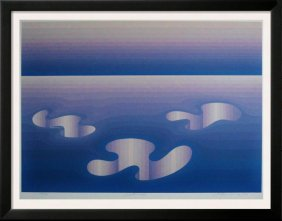 Vasarely Style Signed Serigraph Abstract Blue
