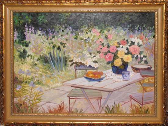 2187: Original Painting Traditional Floral Garden Frame