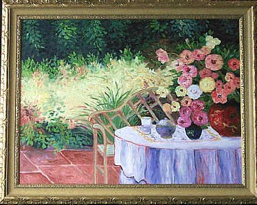 2189: Original Painting Traditional Floral Garden Frame