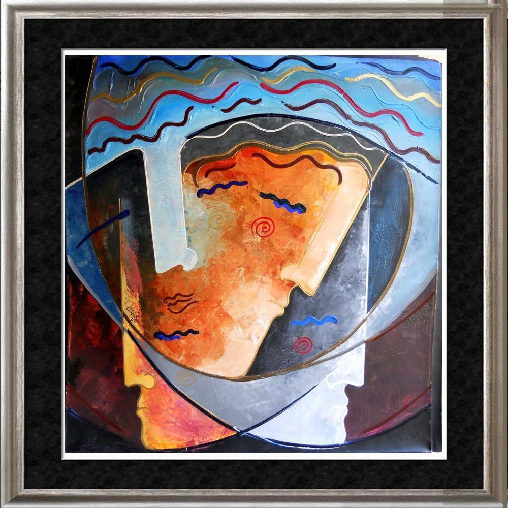 Fantastic Dramatic Abstract Faces Colorful Modern Art