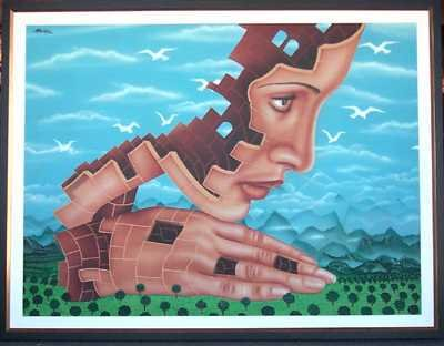 5898E: Rick Garcia Style Surreal Painting on Canvas