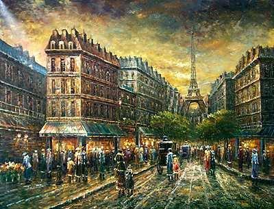7197E: Paris Eiffel Tower Night Scene Painting on Canva