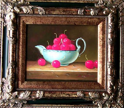 5103E: Still Life Cherries in Dish Realistic Painting S