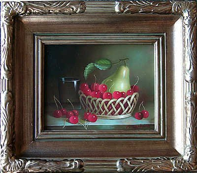 5111E: Pear with Cherries Still Life Canvas Painting