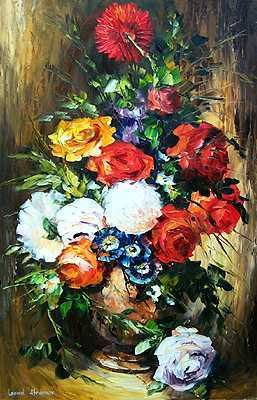 7998E: Floral Heavy Texture Painting on Canvas