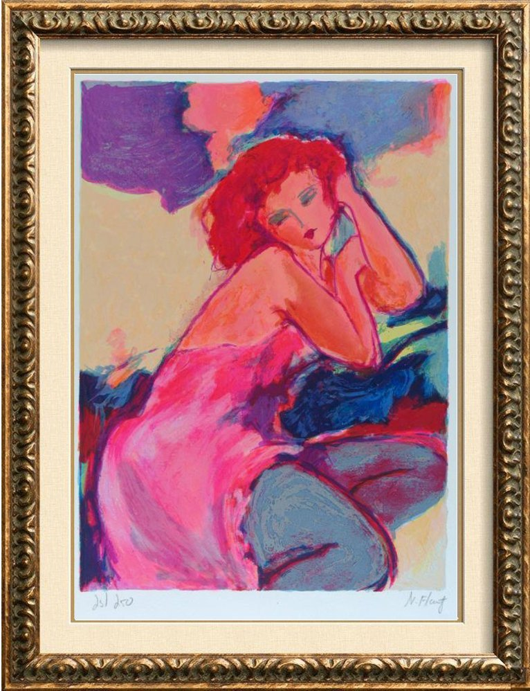 Tarkay-Style Colorful Woman Signed Modern Abstract