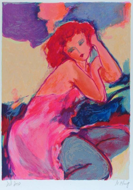 Tarkay-Style Colorful Woman Signed Modern Abstract - 2