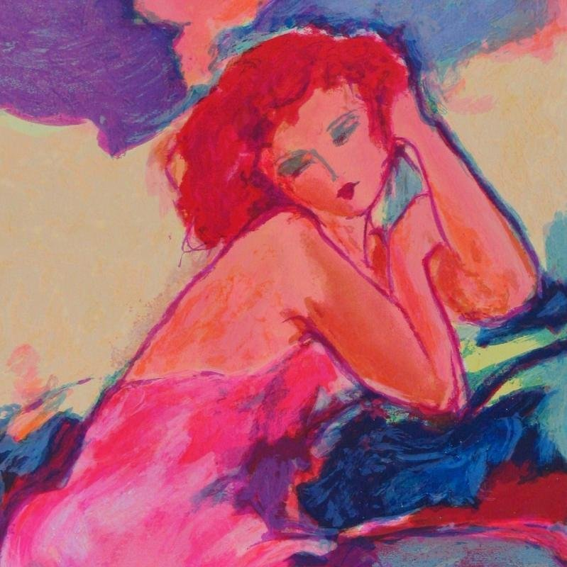 Tarkay-Style Colorful Woman Signed Modern Abstract - 3