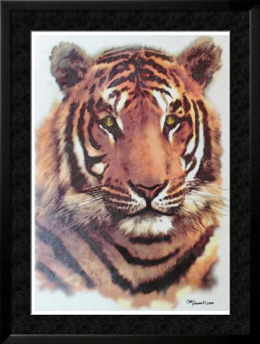 Tiger Face Original Acrylic Painting Signed Canvas
