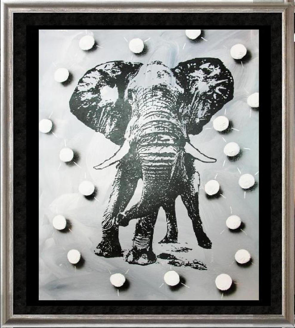 BLACK & WHITE ORIGINAL CANVAS ELEPHANT DEALER SALE