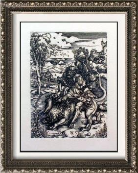 """Durer """"After"""" Etching Samson Fighting with Lion"""