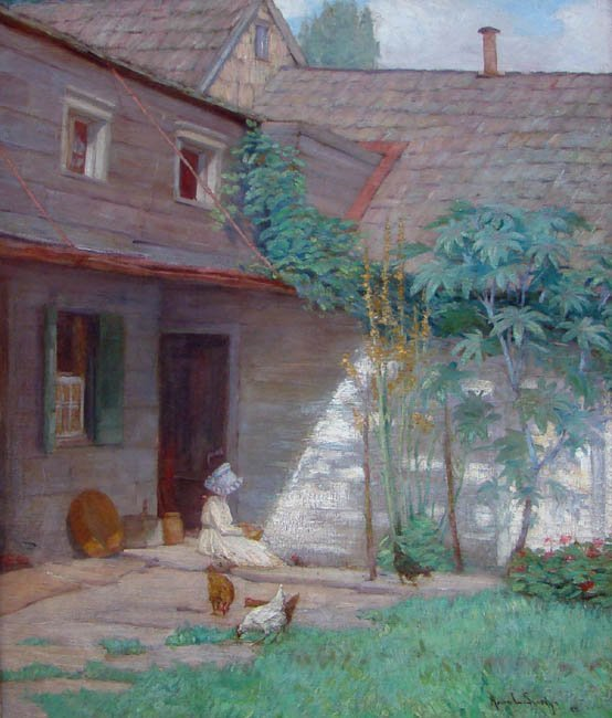 The Courtyard by Anna Lee Stacey (1865-1943)