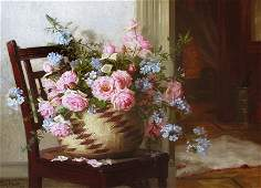 Roses in a Basket by Edith White (1855-1946)