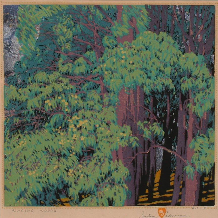 Singing Woods Woodblock by Gustave Baumann (1881-1971)