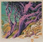 """""""Monterey Cypress"""" Woodblock Print by Gustave Baumann"""