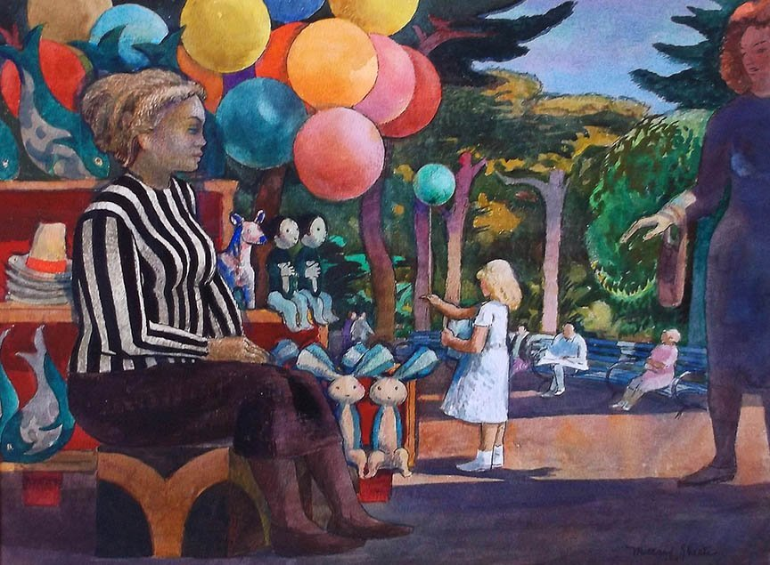 """Balloon Woman at the Zoo"" by Millard Sheets"