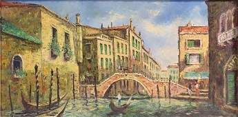 Gondola on a Venetian Canal, Oil on Canvas