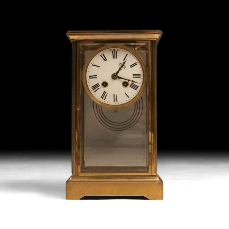 Glass and Gold Mantel Clock