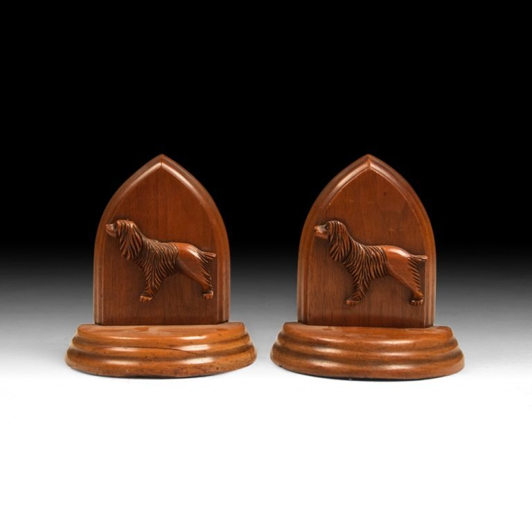 Pair of 20th c. Wooden Bookends with Spaniels
