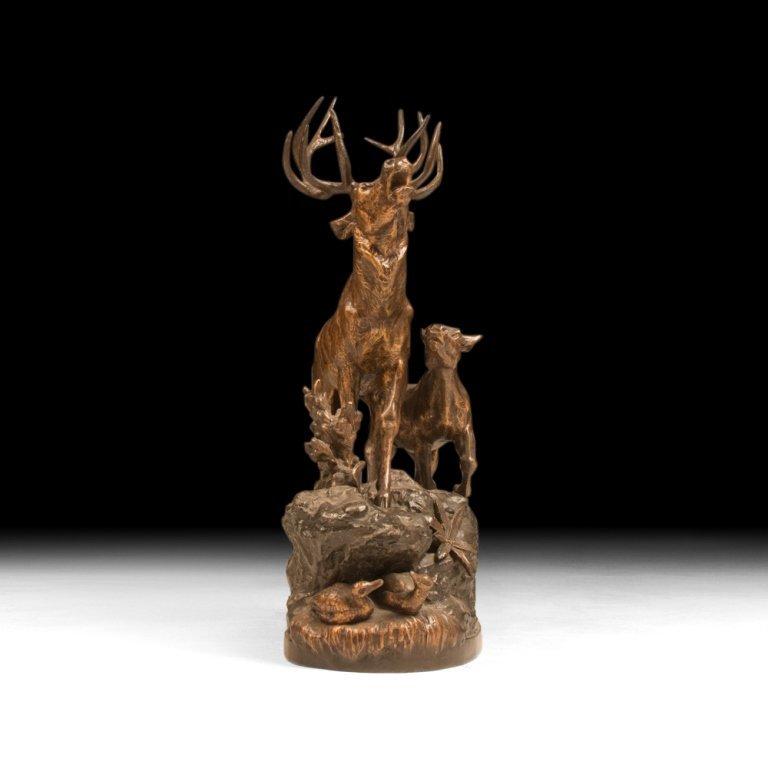 Buck and Doe by Prosper Lecourtier, c. 1900