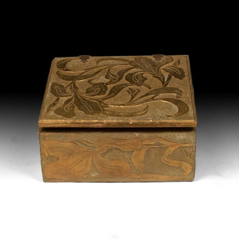 Bronze Jewelry Box with Irises