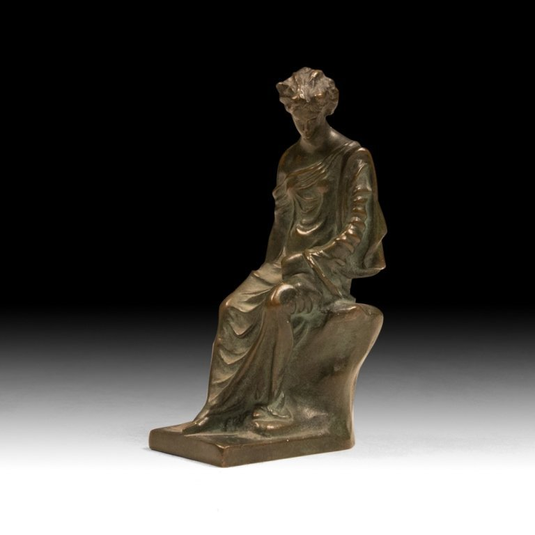 19th C. Neoclassical Bronze Sculpture of a Muse