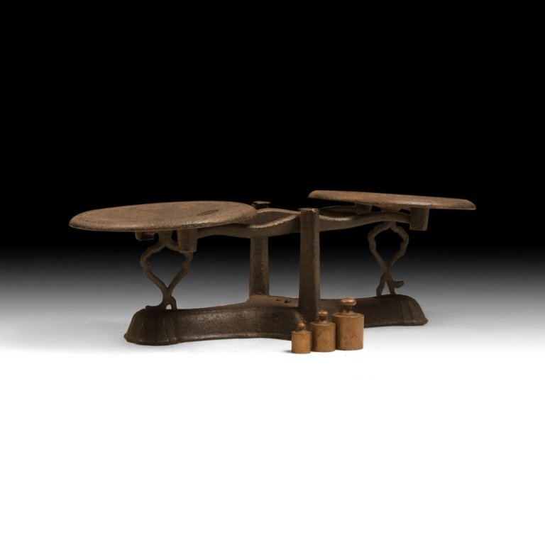 Early 20th c. Decorative Bronze Scale with Weights