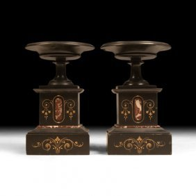 Pair Of Early 20th C. Black Marble Pedestals