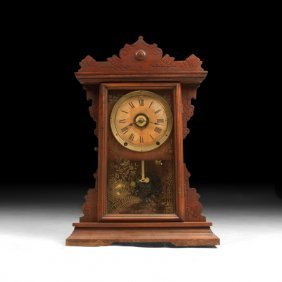 German Carved Wood Mantle Clock With Etched Glass