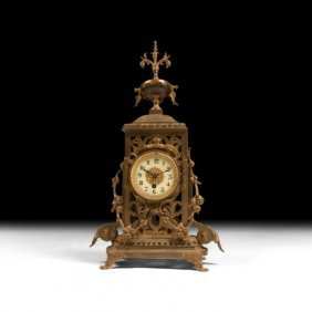 Neoclassical Mantle Clock With Distressed Finish