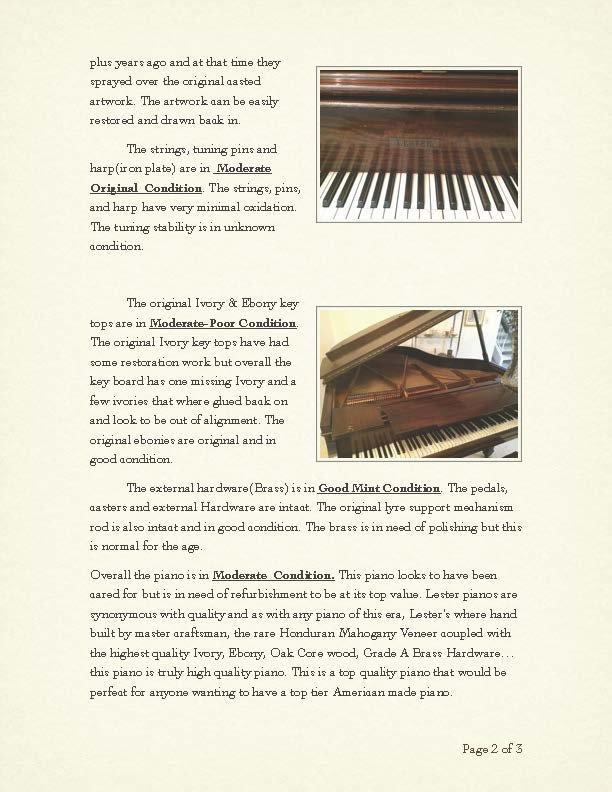 Lester Baby Grand Piano circa 1912 - 10