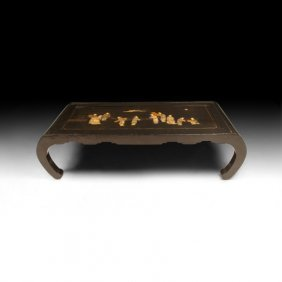1920s Black Lacquer Inlaid Coffee Table