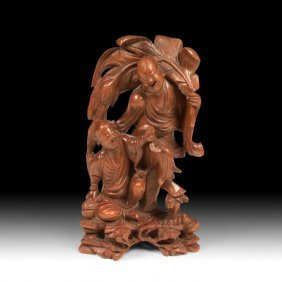 Carved Wood Figure Of Happy Buddha
