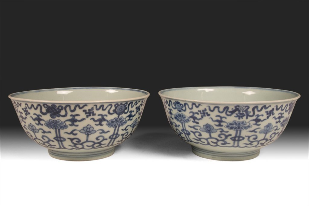 19th c. Chinese Blue and White Porcelain Bowls