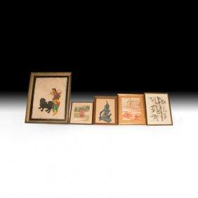 Lot Of Five Unique Asian Works Of Art